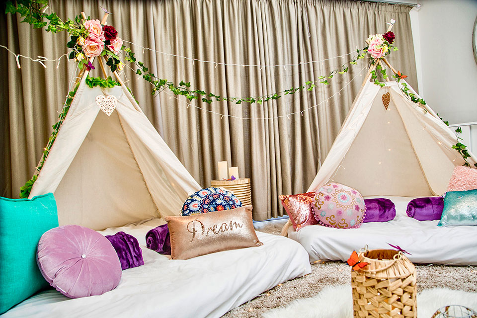 Teepee sleep over party in Cape Town Boho Bliss theme