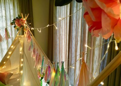 Cape Town Teepee Slumber party for kids – sparkles theme