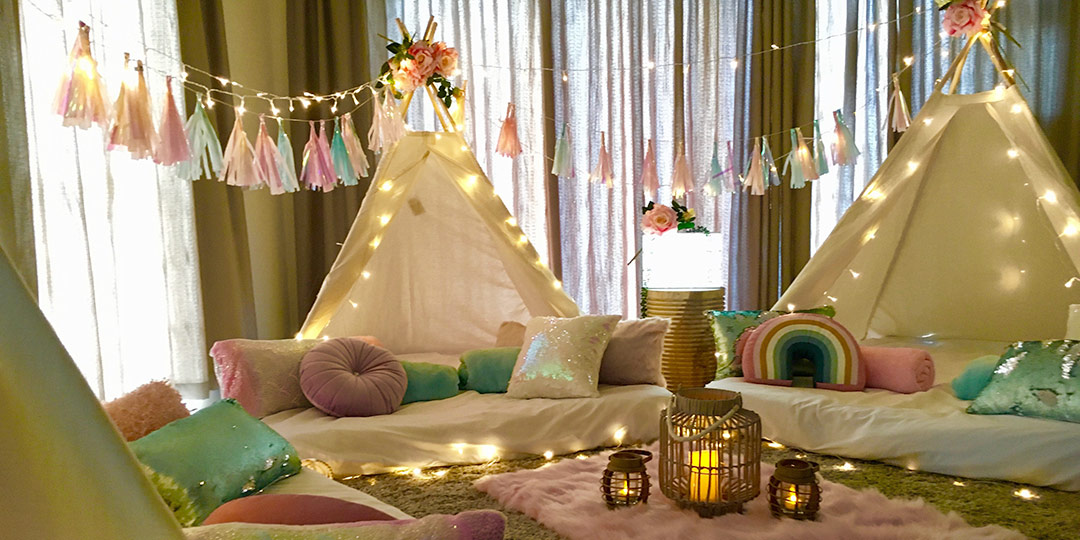 Teepee slumber party in Cape Town – Sparkles theme